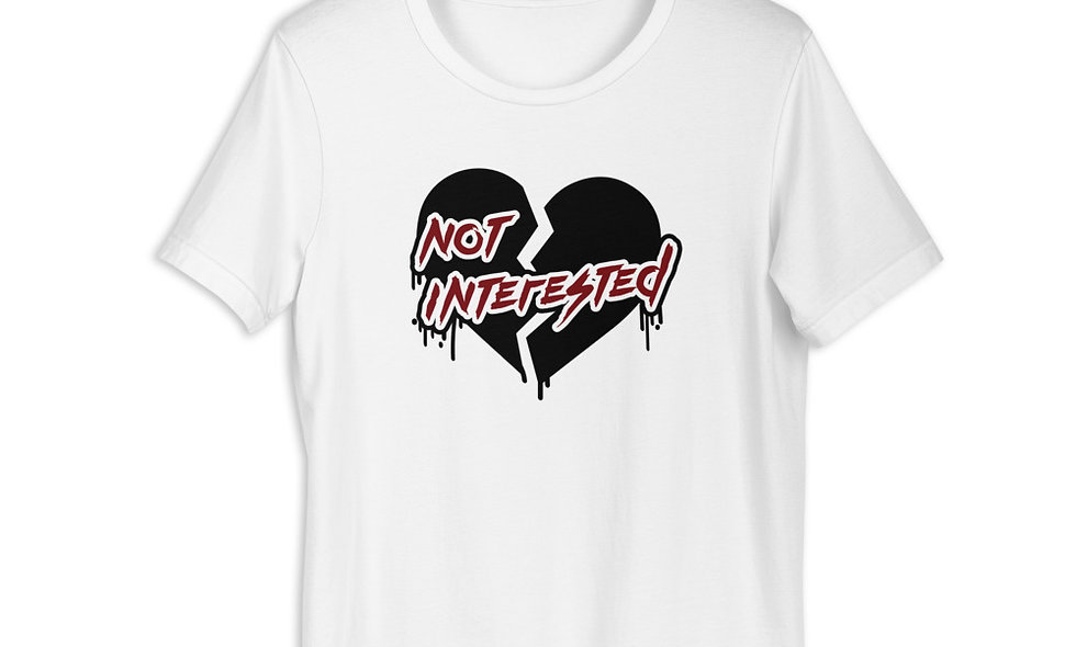 Not Interested Emo Heart Unisex Premium T-Shirt - Bella + Canvas 3001