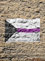 Demisexual flag with black triangle on its side on the left, white and grey blocks and a purple line in the middle painted on a stone wall