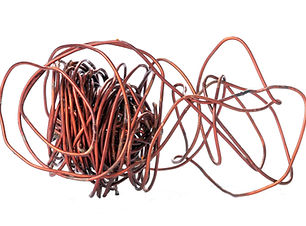 Old copper wire recyclable materials on