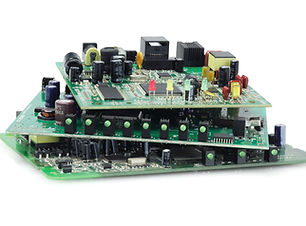 Stack Of Electronic Circuit Boards On Wh