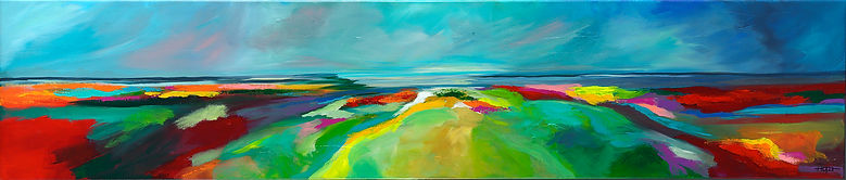 "Acryl op linnen, ""Seasons of my heart"" 40 x 120, verkocht"