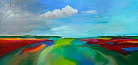 """Acryl op linnen, """"Summertime"""" 90 x 190"""