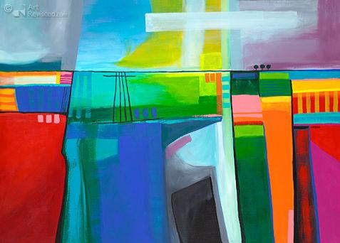 """acryl op linnen """"Higher-ground"""" 100 x 140"""