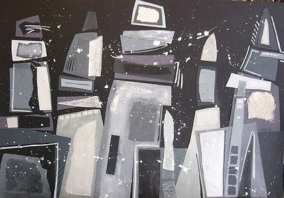 Black night, acryl op paneel, 110 x 165
