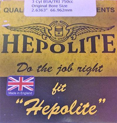 Hepolite Piston Ring Set 3 Cylinder  +40 Thou