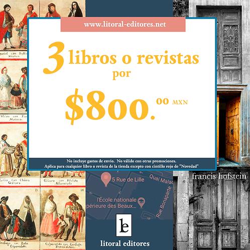 3 libros o revistas por $800