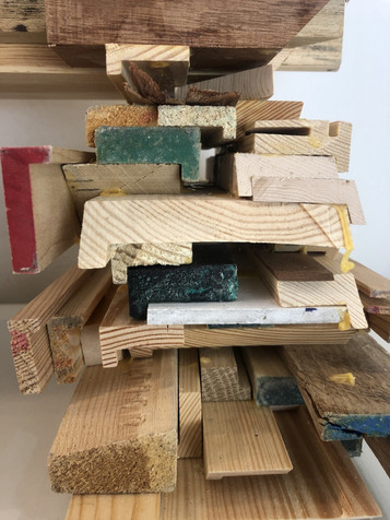 Next to my studio there is a studio of the loveliest and most professional art framer, i take the leftover wood pieces from him and use them as they are (their original shape and size) to make sculptures.