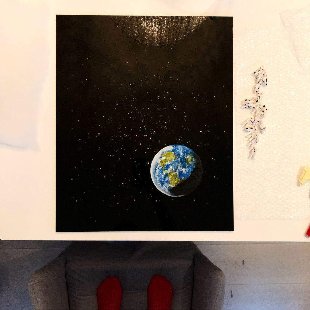Earth. Acrylic painting on Plexiglass.