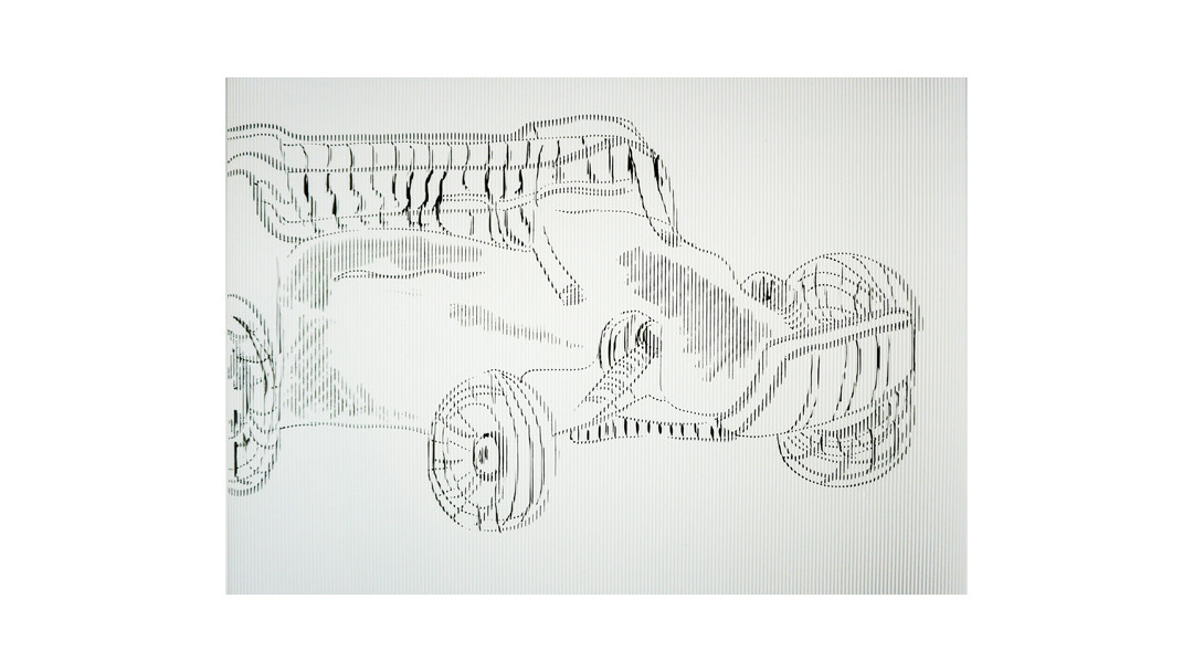 Ink on corrugated paper sheets   50x70 cm