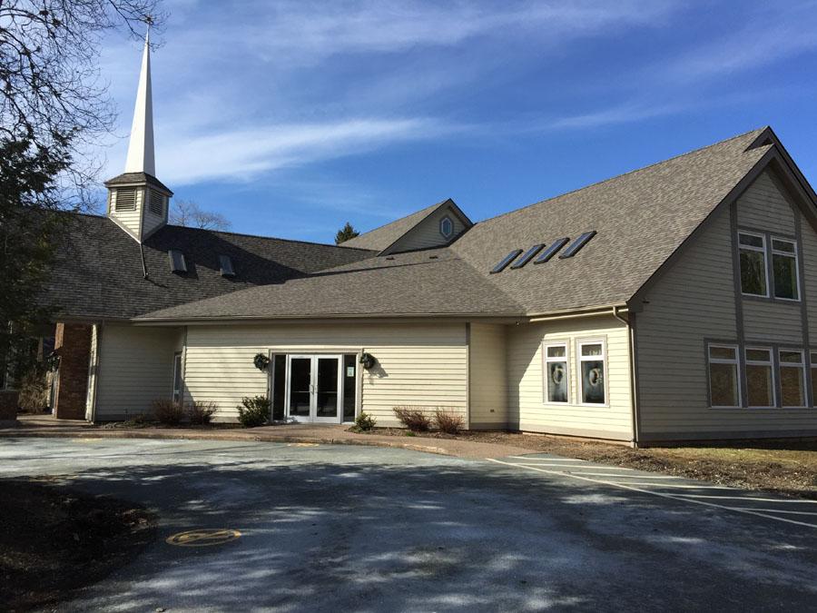 church driveway view