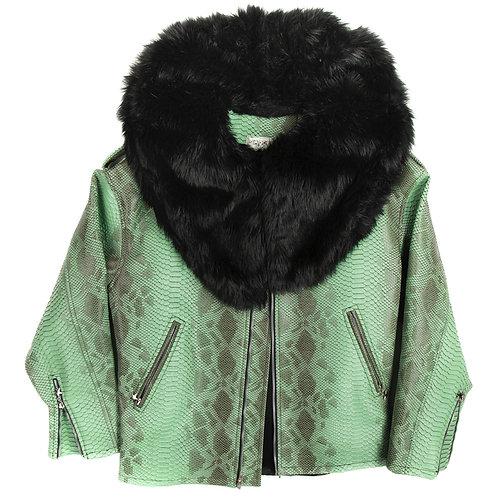Vegan Snake Leather & Mink Fur Jacket