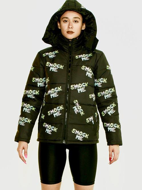 Black Smock Me Logo Puffer Jacket