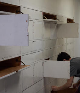 Cameron and the boxes corridor.jpg