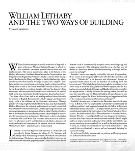 William Lethaby and The Two Ways of Building' by Trevor Garnham