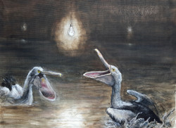 """Pelicans and Lightbulbs"""