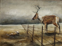 """Reindeer and Calf with Fence"""