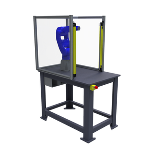 Motoman GP8 Robotic Workcell with optional guarding - isometric left front view