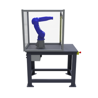 Motoman GP8 Robotic Workcell with optional guarding - left view