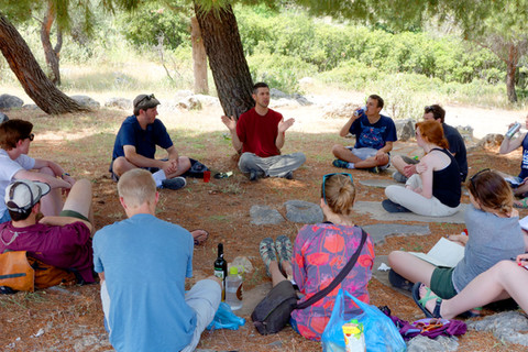 Discussing Aristotle and fatalism at Delphi, Greece