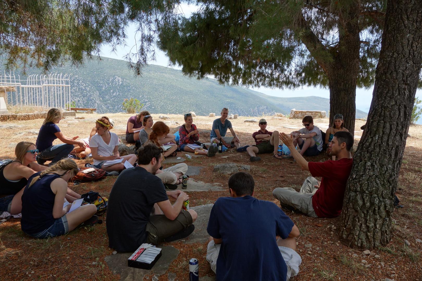 Justin McBrayer teaches class in Greece