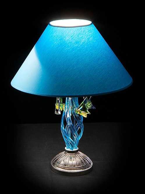 Table lamp silver S418/1/303/2 N fish modern style handmade art glass work