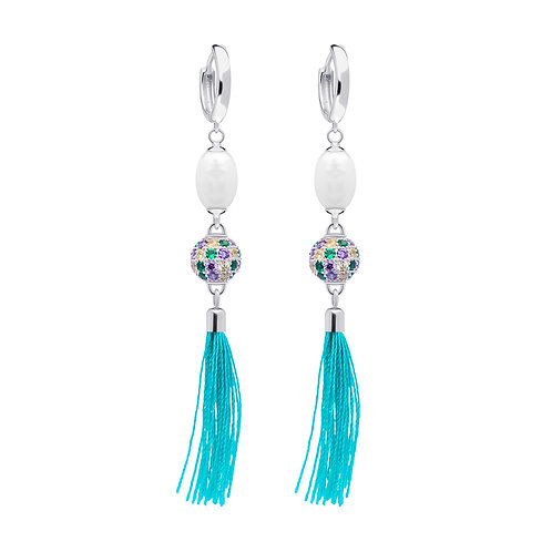 Long brushes Earrings sterling silver Vitis Blue cubic zirconia fresh pearlss