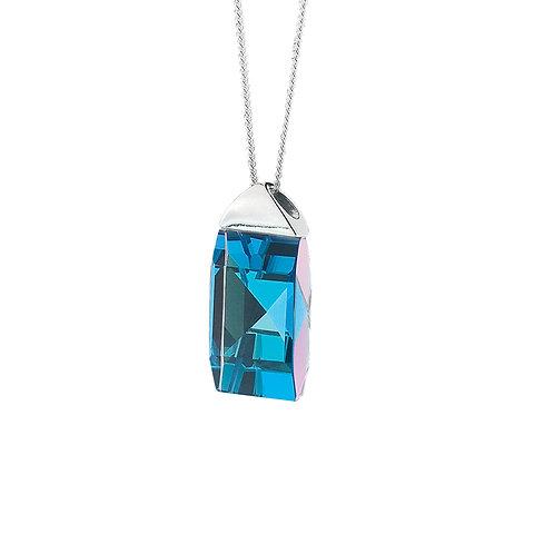 Pendant Trifid  silver Ag 925/Rh bermuda blue big crystal stones
