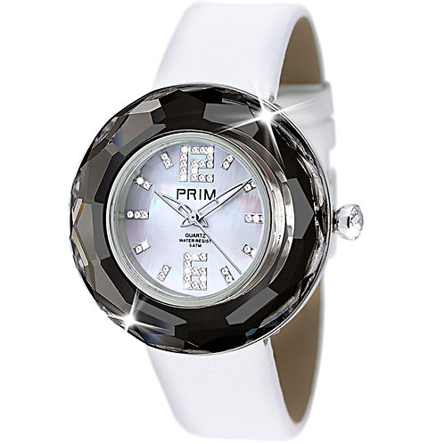 Swiss Women's Watches white leather black crystal
