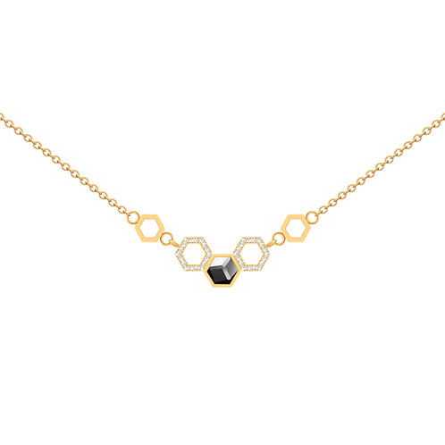 Gold women necklace Honeycomb with hematite and cubic stones hypoallergenic