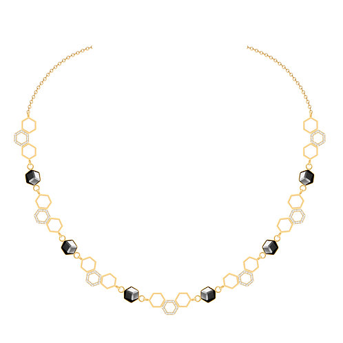 Bee Gold women necklace Honeycomb with hematite and cubic stones hypoallergenic