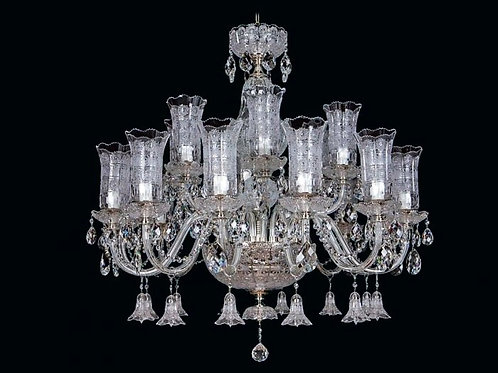 "Crystal chandelier ""Berkana L681/18+3/01 TBN"" silver finishes"