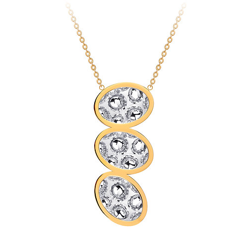 Necklace gold  stainless steel Bohemian crystal triple stones Idared