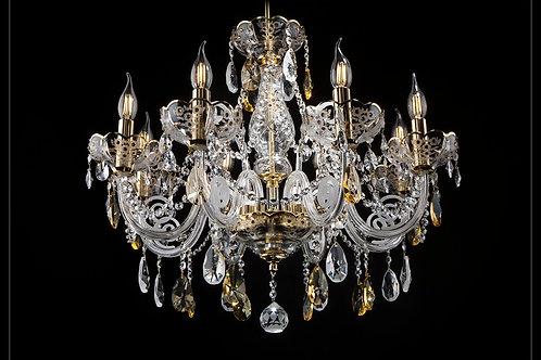 Chandelier crystal  handmade art glass work silver brass L580/8+2/022-2N
