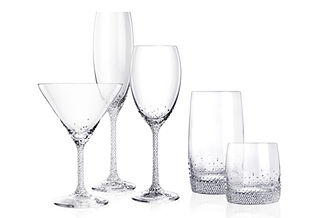 This is a collection of elegant tableware. Each glass can be purchased separately and comes in a set of two. The small crystals at the bottom are a signature look that will keep you happy for many years as it never goes old or out of fashion. You can purchase these at the only distributor www.berkna-usa.com online.