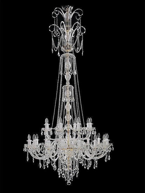"Long crystal chandelier ""Berkana L117/24/04 N"" for staircase and dining room"