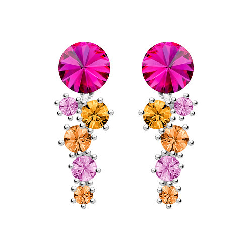 Earrings with Fucsia cubic zirconia  stones Sterling silver Aronie