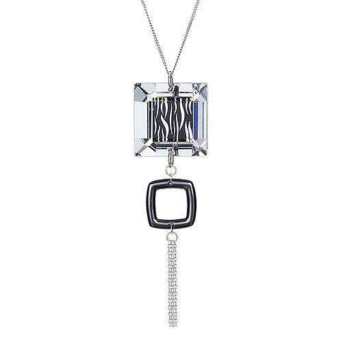 Pendant Necklace for women sterling silver cubes squares crystal black