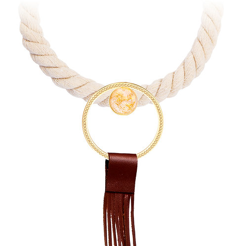 Silk Necklace with leather brush Stone 24K Gold  and White  stainless steel Mays