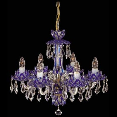Blue chandelier for contemporary interiors with large Swarovski crystals