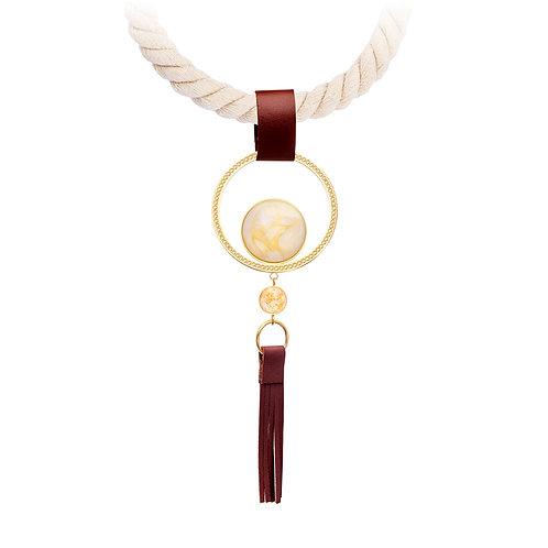 Silk Mays  Necklace with leather brush Stone 24K Gold  & White  stainless steel