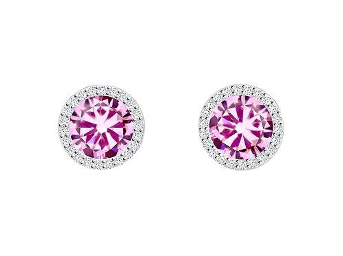 Earrings LYNX Pink Rosa cubic zirconia stones silver Ag925/Rh 5269 69