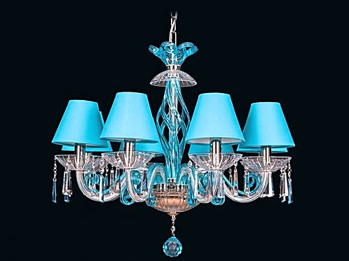 Crystal modern chandelier L418/8/303-3 N blue shade