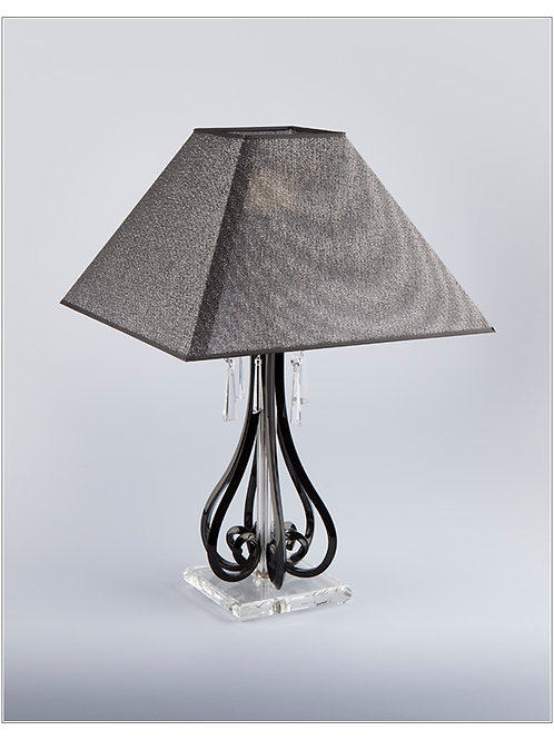 Table lamp S423/1/903/3 N black shade silver brass finished