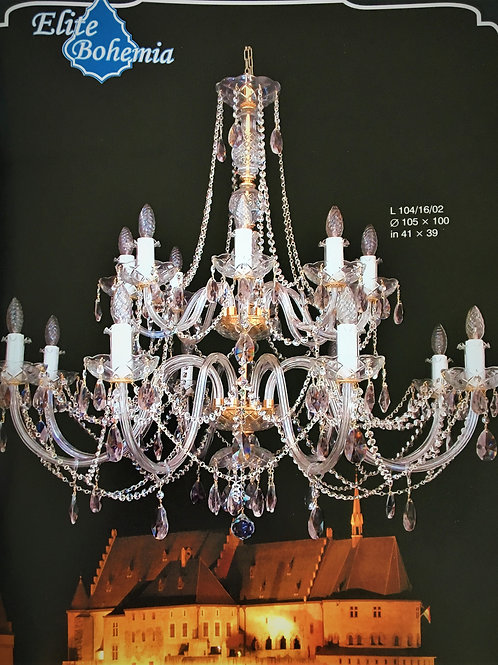 "Large bohemian crystal chandelier ""Berkana L104-16-02-1 S Smoke"" gold finishes"