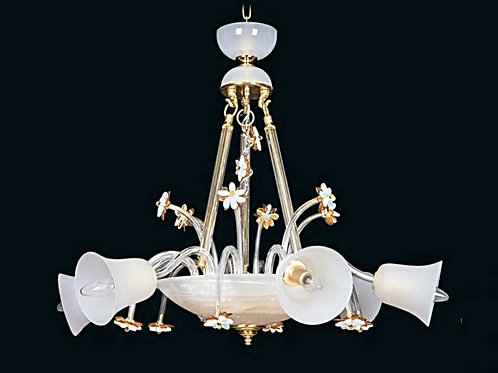Crystal modern chandelier L460/6/63 white and gold