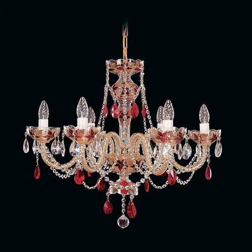 Red crystal chandelier for living room in gold L547/6/17-7