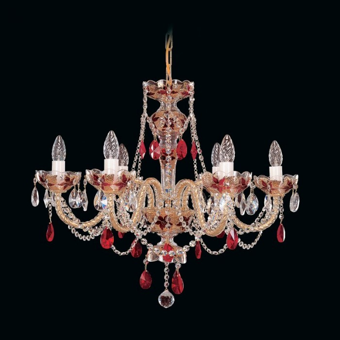 Red crystal chandelier in gold of traditional style