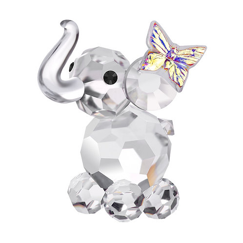 Baby elephant with butterfly crystal miniature