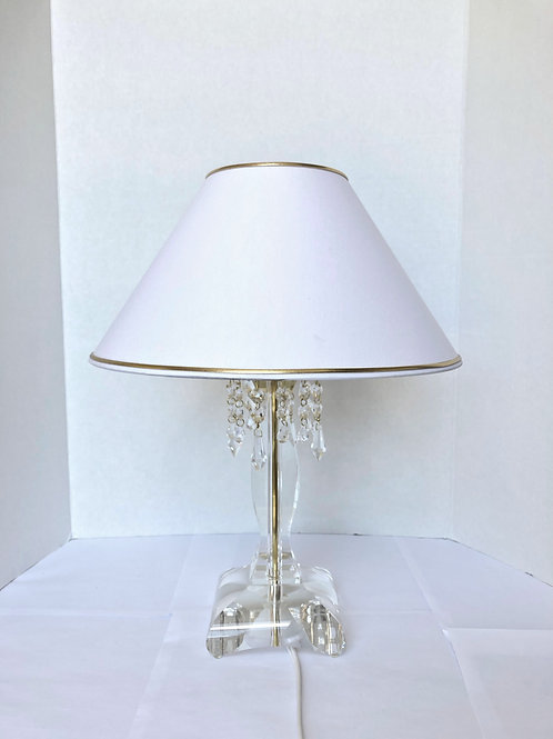 Crystal silver table lamp S214-1-03 N for night table