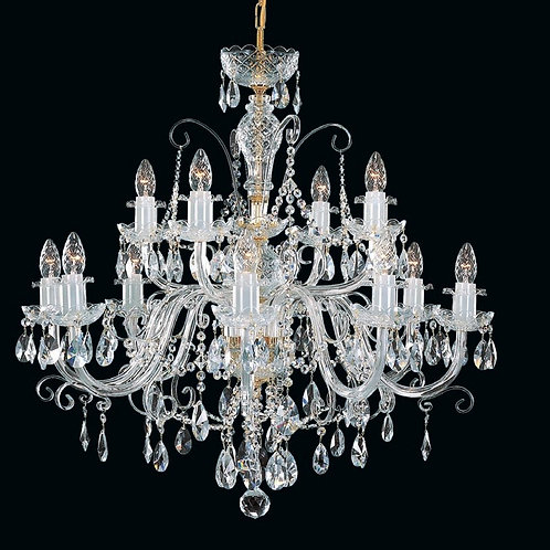 "Crystal chandelier ""Berkana L140/12/02 S"" gold finishes"